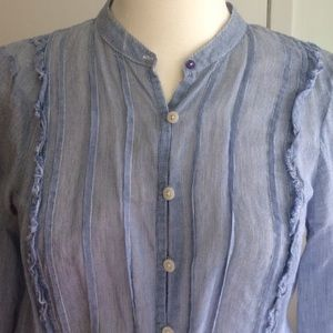 Free People Blue Button Down Blouse NWOT